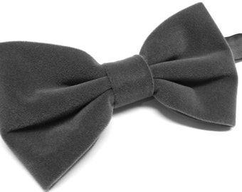 Mens Bowtie. Grey Velvet Bowtie With Matching Pocket Square