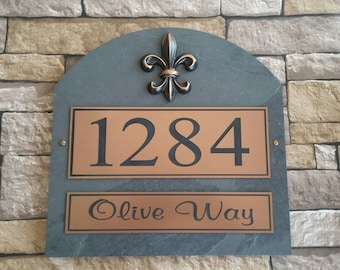 French Fleur De Lis  Home Address Plaque House Numbers