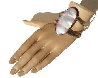 Vintage Zuni Cuff Bracelet Southwestern Indian Sterling Silver Pink Shell