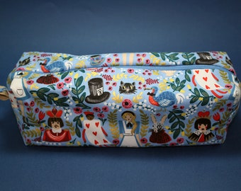 Boxy Makeup Bag - Lewis Carroll's Alice's Adventures in Wonderland Metallic Floral Print Zipper - Pencil Pouch - Anna Bond & Rifle Paper Co