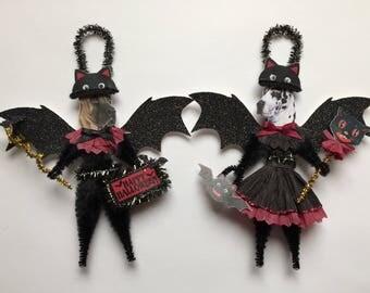 Great Dane BAT Halloween ornaments DOG ornaments vintage style chenille ORNAMENTS set of 2