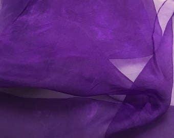 Hand Dyed VIOLET PURPLE Silk Organza Fabric - 1 Yard