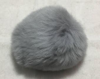 Pompon Lapin - 7cm Rabbit Fur Pom Pom - SILVER GRAY
