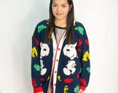 VINTAGE / oversized snoopy knit cardigan / SIZE L Large