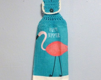 Hanging Kitchen Towel Happy Summer Flamingo Bird Aqua Hot Pink Button Top