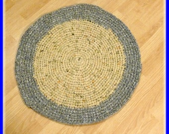"Clearance Sale Round Rag Rug 26 1/2"" inches Handmade From Reclaimed Sheets in Tan and Brown"