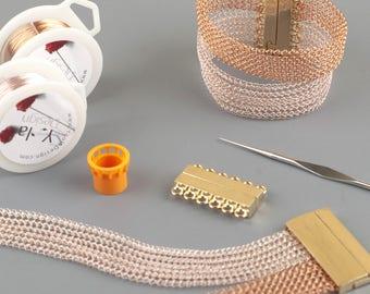 Wrap Bracelet Kit, Cuff Bracelet Kit, Jewelry Making Supply, Bracelet Kit, Wire Jewelry Supply kit, Copper Bracelet kit, Magnetic clasp