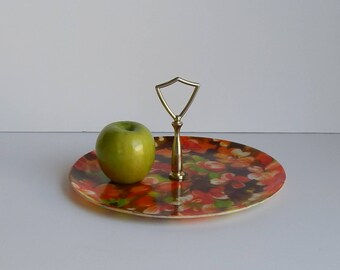 Vintage Fiberglass Tray with Handle / Orange and Green Flowers / 1970s