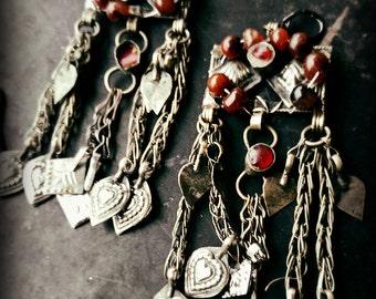 Hundred Year Old Carnelian Bead Tribal Earrings