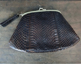 Vintage Snake Skin Purse, 1940s 1950s Small Clutch Bag 6x9 inches Leather
