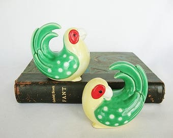 vintage parrot salt and pepper shakers fitz and floyd ceramic