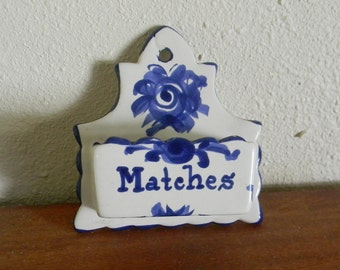 Vintage Matches Holder, Blue and White