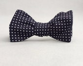 ON SALE Black polka dot self tie bow tie //  mens freestyle bow tie //  black & white cinrsge fabric polka dot bow tie