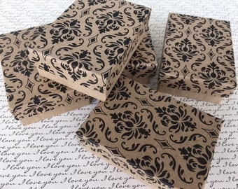 "7 DAMASK Design Kraft Paper Boxes Cotton Filled Gift Box for Jewelry 3 1/4"" W x 2 1/4"" D x 1"" H"