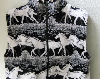 Kids Black and White Horse Fleece Zipper Vest  Kids Coat, Fleece Vest , Kids Fleece Vest, Boy Toddler Vest, Girl Toddler Vest