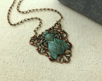 Bee Necklace, Bumble Bee, Statement Necklace, Woodland Bug, Bold, Insect Jewelry, Verdigris Insect, Antique Copper Ox, Filigree, Gift
