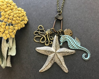 Starfish Necklace, Seahorse Pendant, Octopus Charm, Sand Dollar Charm, Sea Creatures, Sea Charm Necklace, Ocean Animals, Beach Jewelry