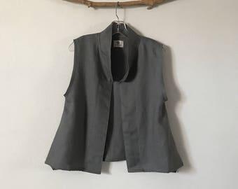minimalist gray linen vest ready to wear size M