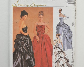 1990s UNCUT McCall's Sewing Pattern 2232 Formal Evening Masquerade Princess Seam Ball Gown Dress w/ Train, Bustle Size 4,6,8