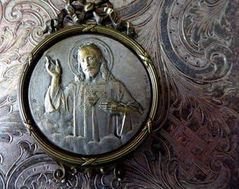 French Belle Époque Catholic Sacred Heart Of Jesus Christ, Metal Shrine, Jean Bapiste Emile Dropsy, Portable Devotional Picture With Ribbons