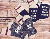 ON SALE His and Her Beer and Wine Socks  If you can read this bring me a glass of wine charcoal grey wool socks Beer Me mens version