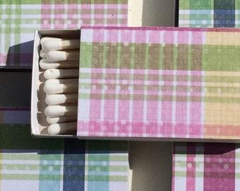 10 Wedding Party Favors Matchboxes pink green prep preppy plaid golf pants