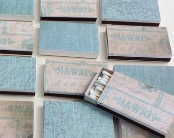 10 Beach Wedding Theme Matchboxes Party Favors Bungalow House Seashore Destination Hawaii Map Blue Muted Antique Vintage Personalized Custom