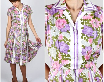 Vintage 1950s Purple and Pink Floral Day Dress by R&K Originals | XS/Small