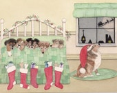 Shetland sheepdog (sheltie) family waits for Santa on Xmas eve / Lynch signed folk art print