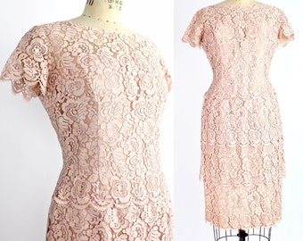 Vintage 1960s Lilli Diamond Lace Dress | Pale Pink Blush Lace Dress | Tiered Lace Dress with Sheer Yoke | S-M