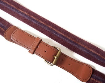 Vintage 1980's Burgundy Striped Elastic Belt with Leather and Brass Buckle, Women's Modern Size 8 -o 16, Small, Medium, Large, Men's 32