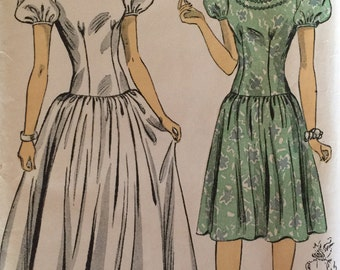 Vintage 40s Puff Sleeve Drop Waist Prom Formal Day Wedding Dress Gown 2730 B34