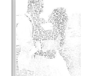 Gifts for the couple/ Gift First Dance Lyrics/ Custom Canvas / Your Wedding Photo silhouette with your Lyrics/ Vows/ Love Story