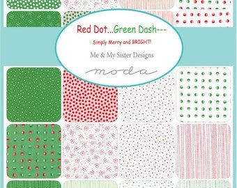 Red Dot Green Dash by Me and My Sister - Yard Bundle - Complete Set