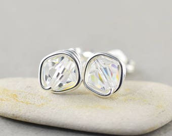 Clear Crystal Studs, Bicone Crystal, Clear Posts, Sterling Silver Studs, Bridesmaid Gift, Crystal Earrings