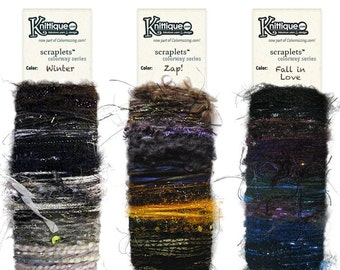 NEW! Scraplets color cards Wintry collection, luxury/novelty yarns hand-tied in color sequences for embellishments & more!