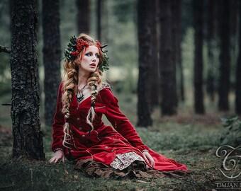 PRIESTESS VELVET COAT - Long Jacket Cape Goddess Faery Fairy Cosplay Witch Medieval Fantasy Christmas Santa Riding hood  Vampire - Red