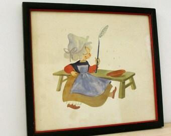Little Dutch Girl.  1940s framed print.