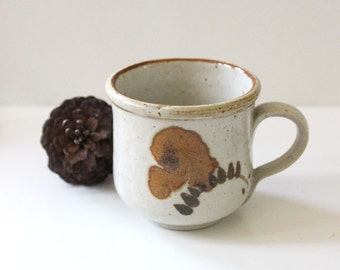Vintage 1970s small rustic stoneware cup.