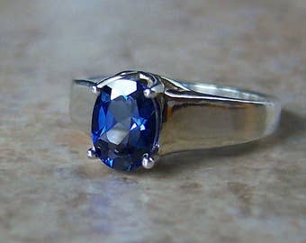 8x6mm Blue Lab Sapphire Sterling Silver Ring, Cavalier Creations