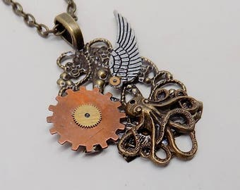 Steampunk jewelry octopus necklace pendant.