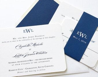 Traditional Monogram Wedding Invitation - Navy Wedding Invitation