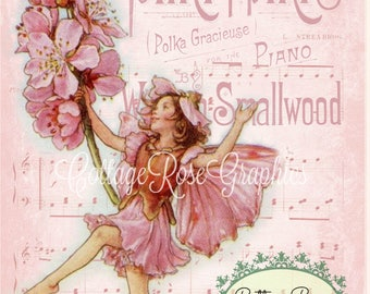 Pink Dancing FAIRY almond blossom printable digital image download vintage Fairies Buy 3 Get one Free ECS