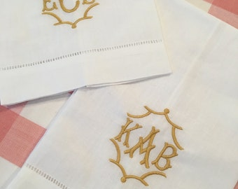 Monogrammed Tea Towel Linen Cotton Embroidered