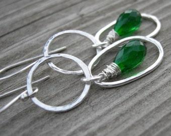 Emerald Green Quartz Sterling Silver Double Dangle Earrings