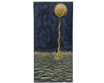 "Moon Dripping Into Sea Ceramic Art Tile Wall Piece (6"" x 15"")"