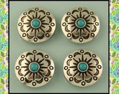 2 Hole Beads Faux Turquoise Circle Conchos with Aztec Flower Pattern ~ Sliders QTY 4