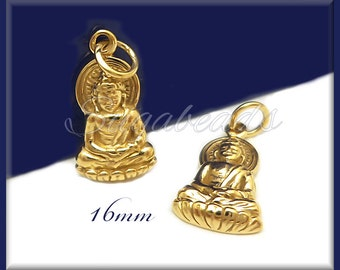 Small Natural Bronze Buddha Charm 16mm ND12