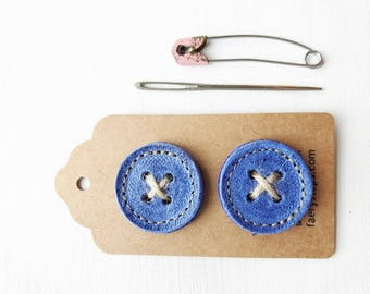 Big leather handmade borrower BUTTONs on gift tag. Perfect for all knitwear. 30mm X 2 in lapis blue