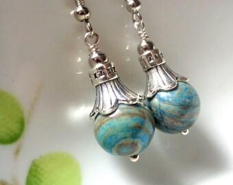 Jasper Earrings, Gemstone Earrings, Green Earrings, Dangle Earrings Stone Earrings